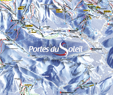 Plan des pistes Portes du Soleil / PdS ski Map