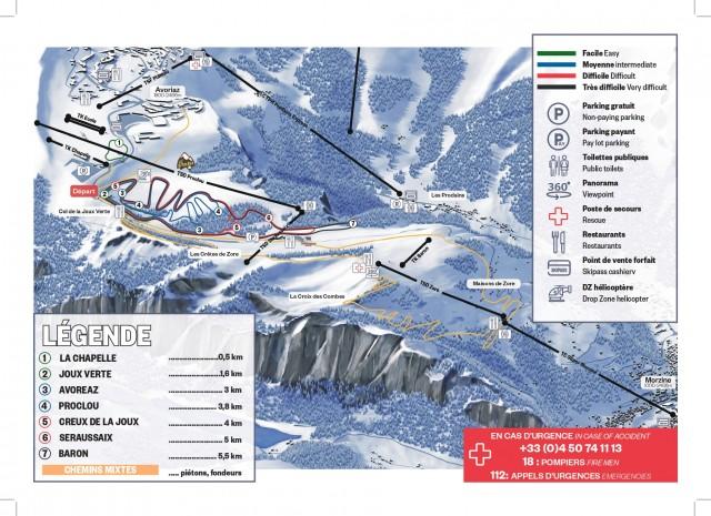 Plan des pistes de fond Avoriaz
