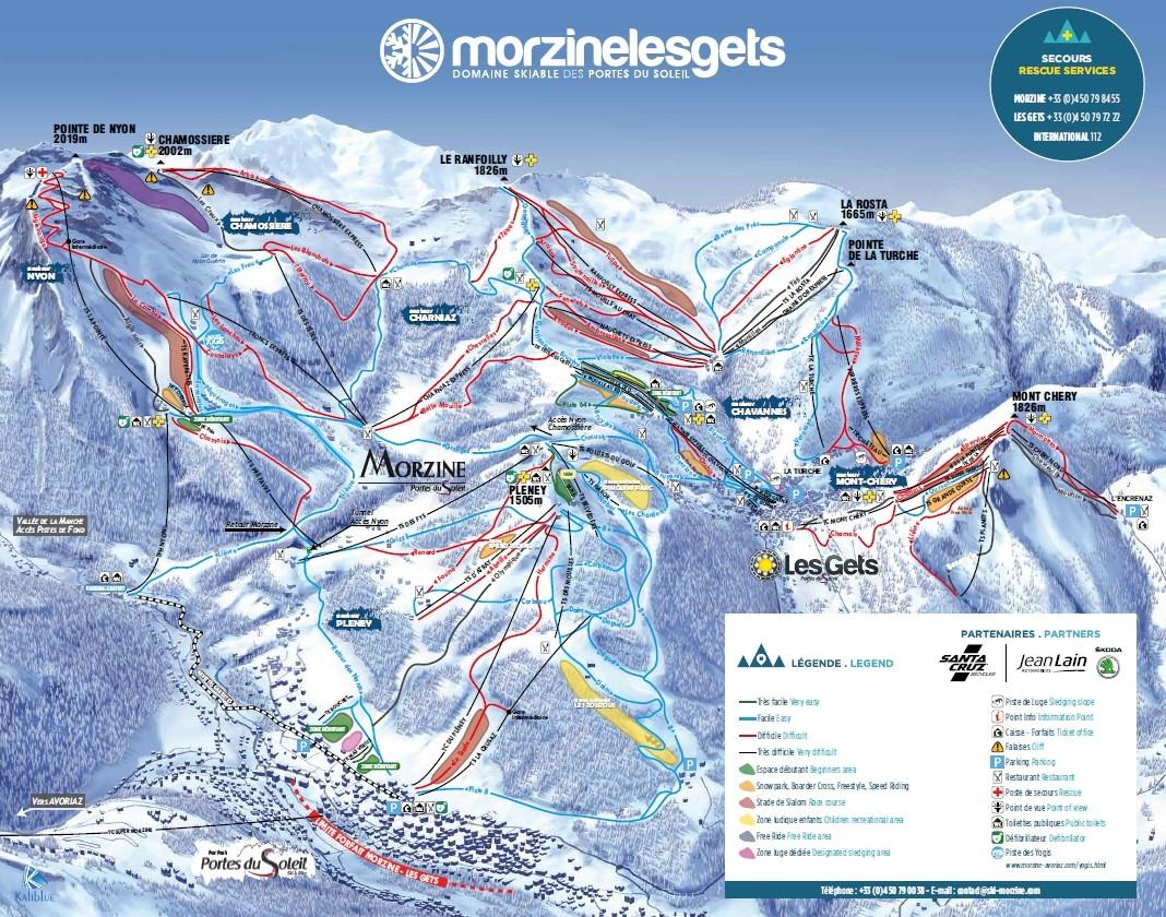 Plan des pistes Morzine Les Gets