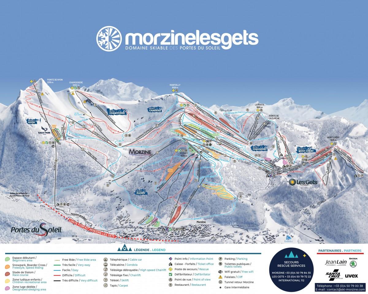 Plan des pistes Morzine-Les Gets