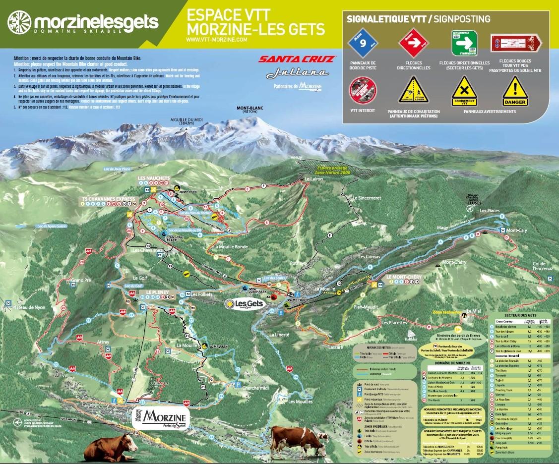 plan des pistes VTT Morzine-Les Gets