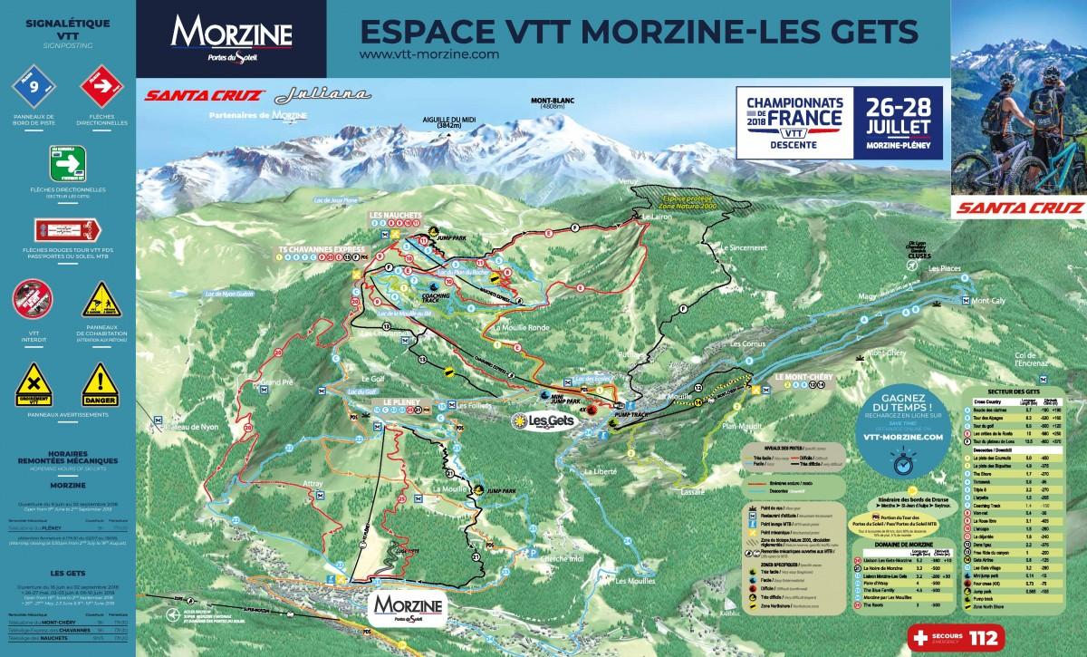 Plan des pistes VTT Morzine - Les Gets